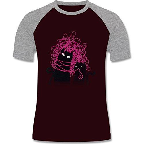 Statement Shirts - Katzenwirrwarr - zweifarbiges Baseballshirt für Männer Burgundrot/Grau meliert