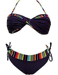 Maillot de bain femme 2 pièces bikini violet et multicolore