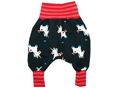 Kleine Könige Pumphose Baby Mädchen Hose · Modell Einhorn Lovely Unicorn schwarz Streifen rot ·...