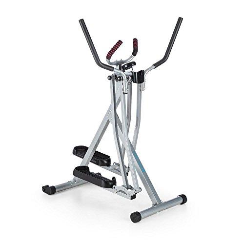 CAPITAL SPORTS Air-Walker • Bicicleta elíptica • Caminador • Completo • Movimiento horizontal y vertical • Ordenador • Pantalla LCD • Soporte de tablet • Plegable • Hasta 100 kg • Plateado-Negro