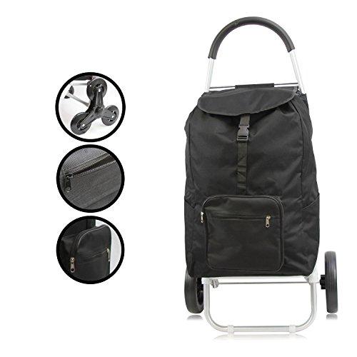 1PLUS Premium Einkaufstrolley Einkaufsroller Handwagen aus Aluminium mit abnehmbarer Tasche mit normaler Bereifung und 3+3 Reifen zum Treppenstiegen, verschiedene Designs und Farben (Aluminium Gestell - Tasche: Schwarz)