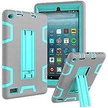 Custodia Fire 7 2017 Case - TianTa - Custodia Ibrida Tre-strati Cover Silicone + PC Protettiva Case con supporto per Fire 7-Inch Tablet (7th Generation, 2017 Release) - Grigio/Acqua
