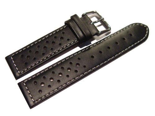 Uhrenarmband – Watchband Berlin – echtes Leder – Race Rally – Style – schwarz – weie Naht – 18mm
