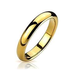 Idea Regalo - Bling Jewelry Sottile Cupola Rotonda comodità di tungsteno Anello di Nozze 14K Placcato Oro Banda Finitura Lucida 4mm