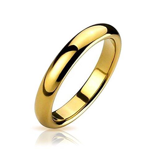 Bling Jewelry Einfache Einfache Schmal Paare Hochzeit Band Poliert 14K Vergoldete Tungsten Ring Für Herren Für Damen Comfort Fit 6 MM (Schmuck 14k Gold Ringe)