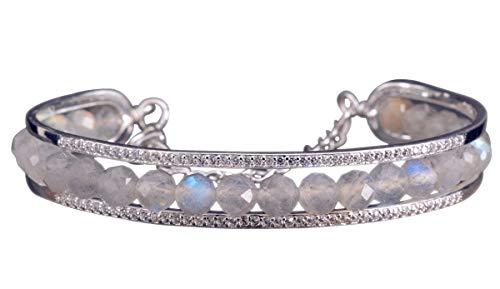 NicoWerk Damen Silber Armreif Labradorit aus 925 Sterling Silber Kugel mit Facetten Offen SAR131