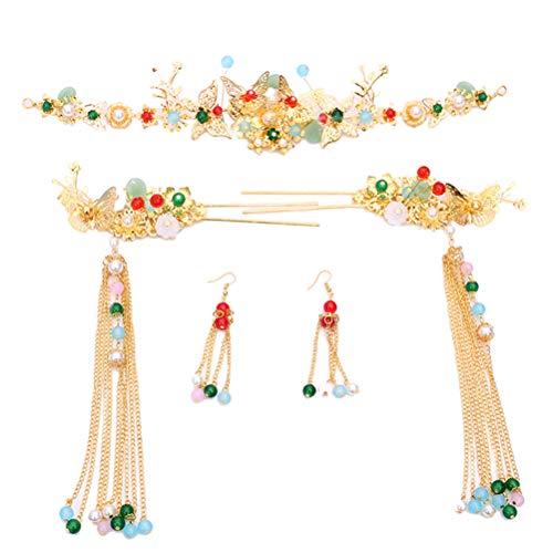 5 STÜCKE Braut Chinesischen Stil Kostüm Tiara Überzug Festival Legierung Haarschmuck Phoenix Haarnadel Clips ()