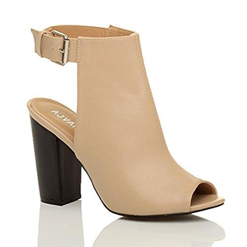 Donna tacco alto aperte a punta tagliare fibbia scarpe sandali stivali numero Ecrù