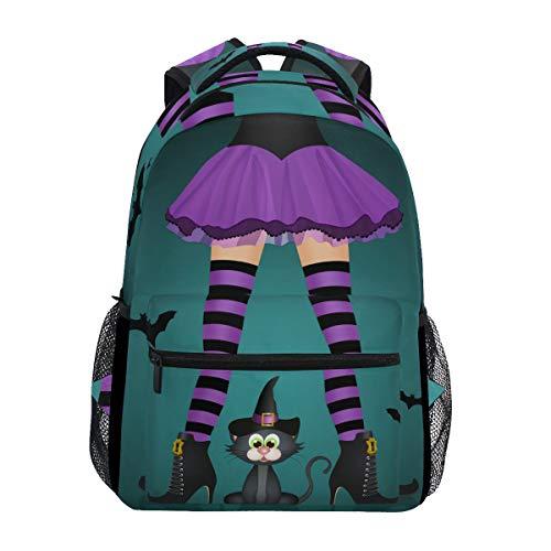 Ahomy Schulrucksack Buchtasche für Teenager Mädchen Jungen Halloween Schwarze Katze Hexen Beine Reise Rucksack Tasche Tasche Wandertasche für Damen ()
