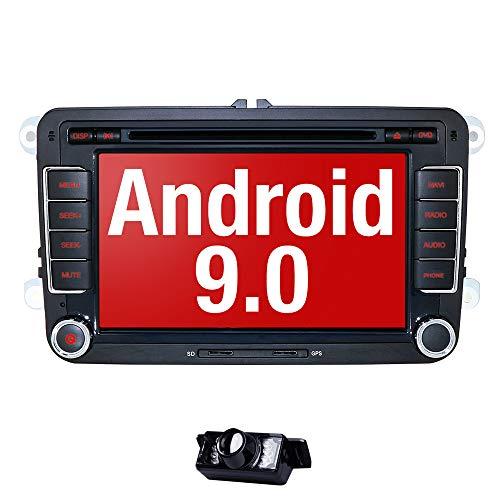 Android 9.0 Autoradio für VW Radio mit Navi Unterstützt Bluetooth aptX, DAB + CD DVD Android Auto WiFi 4G USB MicroSD 2 Din 7 Zoll Bildschirm DSP Audio + Camera