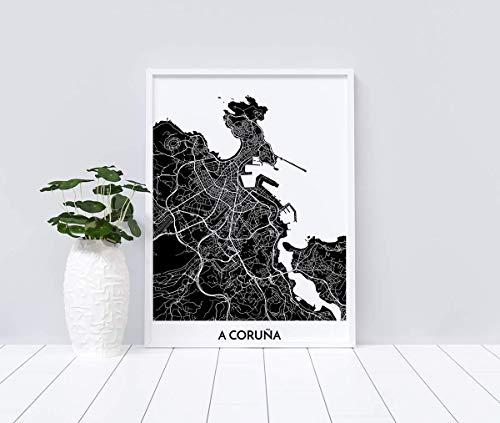 Mapa decorativo de A Coruña