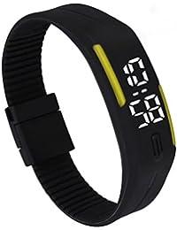 Vovotrade Mens Womens goma LED Watch Fecha Deportes reloj de pulsera digital (Amarillo)