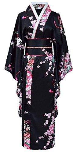 Kimono japonais geisha femme noir avec obi et noeud