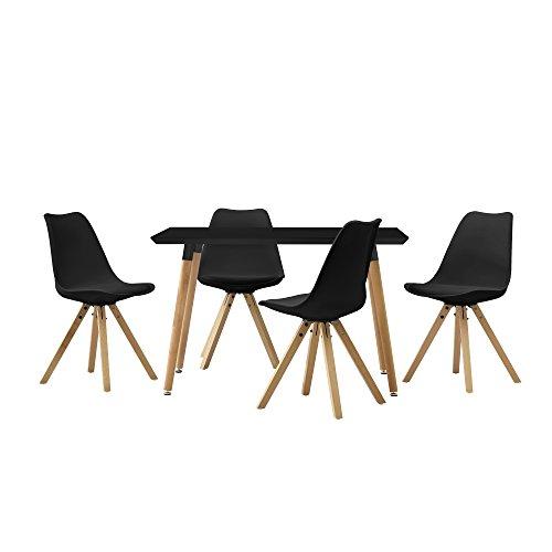 it 4 Stühlen schwarz gepolstert 120x80cm Kunstleder Esszimmer Essgruppe Küche (Schwarz-ess-stühle)