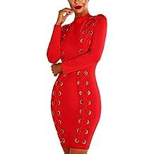 be8028c43 Mujer Vestidos De Fiesta Cortos Elegantes Moda Con Ojales Bandage Bodycon  Vestido De Noche Slim Fit