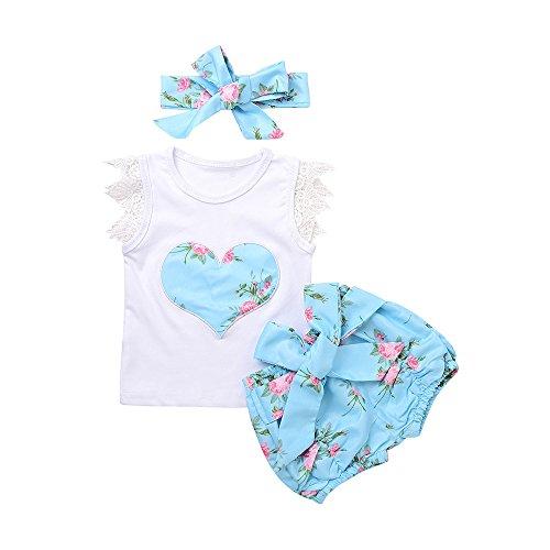 Vestidos niñas baratos Switchali infantil Recién nacido Bebé Niña Verano moda blusas floral camisa encaje mono + Pantalones cortos + bowknot venda Conjunto de ropa de fiesta (80 (3~6meses), Azul)