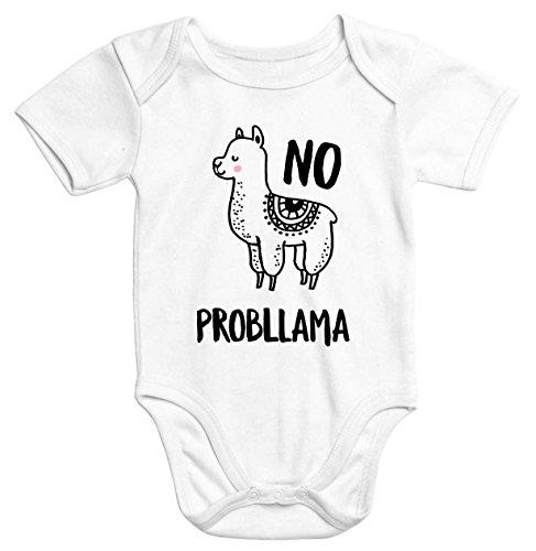 Baby-Body mit Aufdruck Lama no PROPLLAMA Bio-Baumwolle kurzarm Moonworks® weiß 3-6 Monate