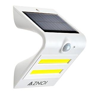 Aznoi 1.5W trapezförmiges PIR Bewegungs-Sensor Solar angetriebene LED-Lichter wasserdichtes IP65 Wand-Licht für Haus,Außenwand, Garten,Zaun,Pfad,usw (Weiß)