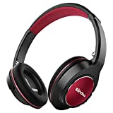 Siindoo Bluetooth Kopfhörer Kabellos over Ear Faltbare mit Integriertem Mikrofon, 3,5-mm-Audioeingang, Super-HiFi und 20 Stunden Spielzeit für Handy/TV/PC/Tablets - Schwarz Rot