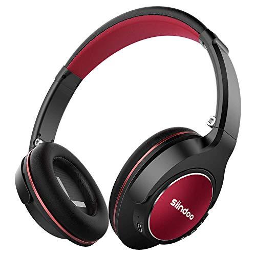 Siindoo Bluetooth Kopfhörer Kabellos over Ear Faltbare mit Integriertem Mikrofon, 3,5-mm-Audioeingang, Super-HiFi und 20 Stunden Spielzeit für Handy/TV/PC/Tablets - Schwarz Rot 3,5-mm-kopfhörer-mikrofon