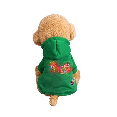 Abcsea Haustier Kostüm, Haustier Kleidung, Hund Kleidung, Haustier Glühen Kleidung, Leuchten Im Dunkeln, Hund Halloween Halloween Glühen Kostüm, Weihnachtsmann Hirsch Stil - Grün - - Hirsch Kostüm Für Hunde