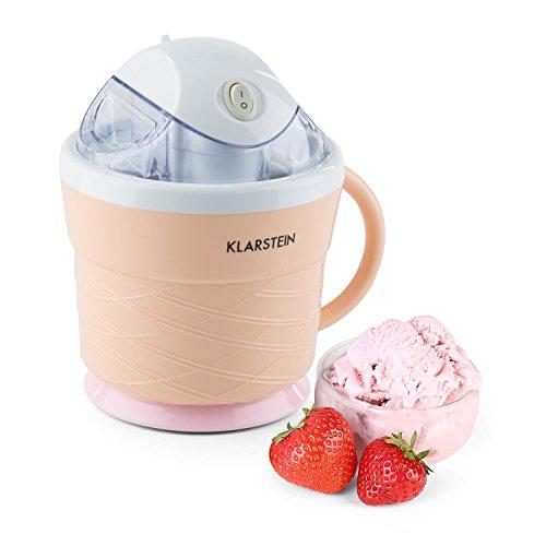 Klarstein iceicebaby mini gelatiera elettrica piccola macchina per il gelato (7,3-9,5 w, contenitore 0,75 litri, manico, silenziosa, basso consumo energetico, facile da pulire, ricettario) - crema