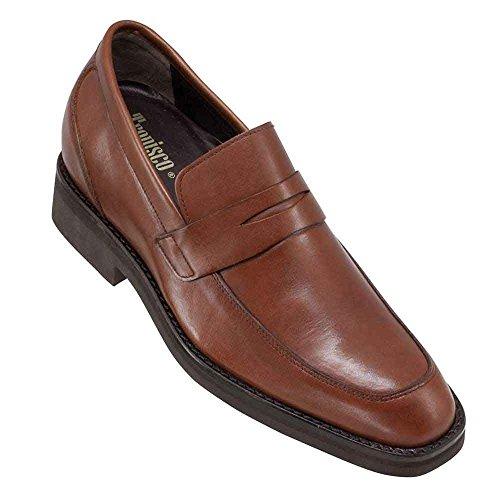 Scarpe con rialzo da uomo che aumentano l'altezza fino a 7 cm. fabbricate in pelle. modello milan marrone 41