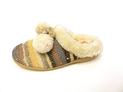 Dunlop Donna falsa pelliccia Pom-Pom Dettaglio Pantofola Malva