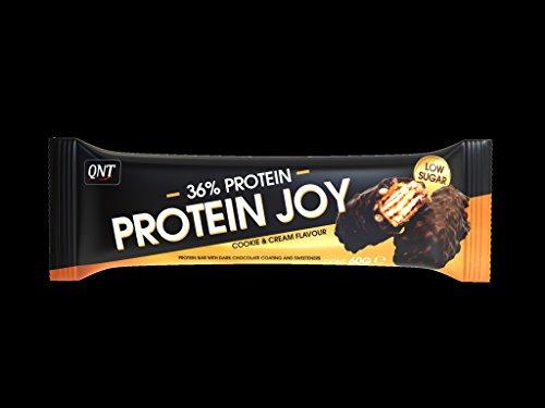QNT 38{9d52080c8e28d329e20ca986699f90f3aee24fbb5b4eebaf1fa20ca910bd3cd9} Protein Joy 60g Cookie & Cream; 24 Riegel