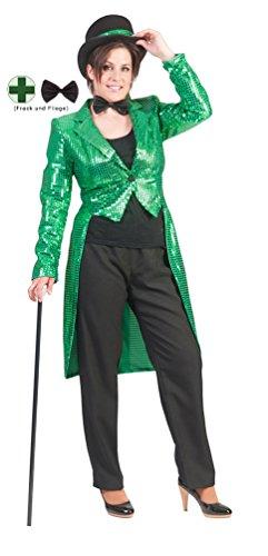 Karneval-Klamotten Frack Pailletten Damen Frack Damen grün MIT Fliege schwarz Silvester Damen-Kostüm Größe 36/38