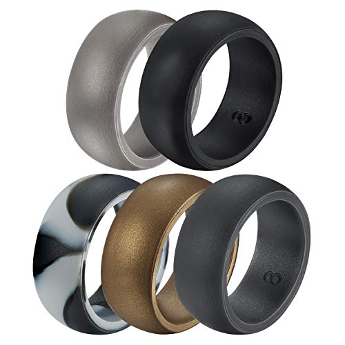 Untouchble Silikon-Ehering für Herren, Ehering für Sportler Crossfit Workout, Silver, Black, Black Camo, Brown, Gray, 9-18.50 mm -