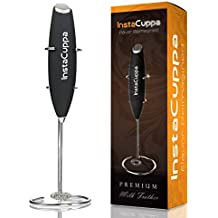 InstaCuppa Milk Frother Handheld Battery Operated Electric Foam Maker with Stainless Steel Whisk, Stainless Steel Stand Included,Black