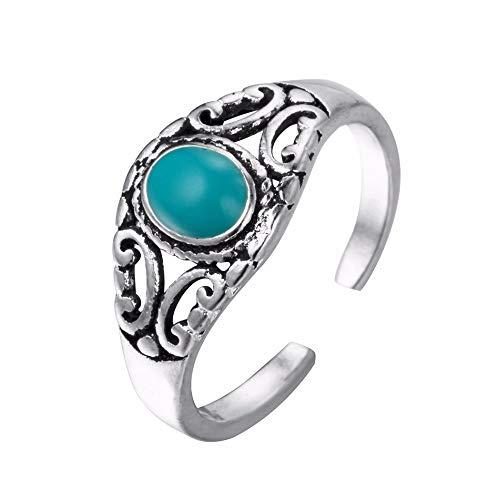 HDDWZH Woman Ring,Grünen Stein Vintage Ringe Ethnischen Stil Indische Ringe Antik Silber Weibliche Modeschmuck Frauen Mutter Geschenk (Indische Ring Nickel)