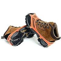 im Freien Mangan Stahl 8 Zahn Steigeisen Wandern Schuhe Schnee Anti Rutsch Schuh deckt Eisklettern acht Zähne Kette gelb