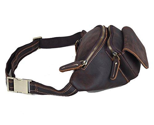 Genda 2Archer cintura bolsa de cuero de moda del paquete de Fanny Bum bag Hombres