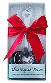 Measuring Spoons! Stainless Steel, Heart Shaped (Set of 4), Specialty Kitchen Spoons! For Confectionery and Culinary Use! Gift Box!