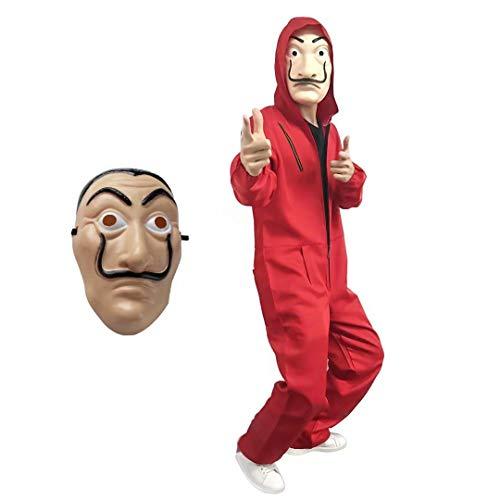 Kostüm Cosplay House - La Casa De Papel Kostüm mit Salvador Dali Maske, Cosplay Erwachsene Kinder Dali Overall Dieb House of Money Kostüm Dali Red Einteiler Big Red Overall Maske Kostüm Party Dress Up