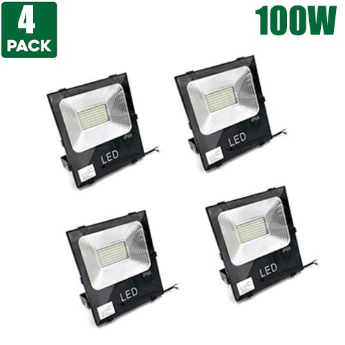 4 Packs - 100W Super Bright Led Outdoor Light Fixtures,13000 Lumen,500W Bulb Equivalent, 4000K Natural White, IP66 Waterproof, Work Lights Security Lights for Square, Billboard,Building, Sports Ground -