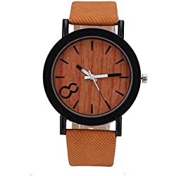 Merssavo Vintage Wood Model Dial Quartz Watch, Analog Leather Strap Wrist Watch for Men Women
