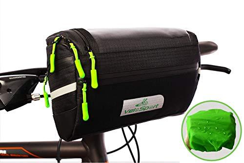 VeloSport Fahrrad Lenkertasche mit Transparentem PVC-Sichtfenster, für Handy, Total 4L, Wasserabweisendes Material, incl. zusätzliche Regenhülle und abnehmbarem Schultergurt