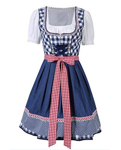 Frauen Oktoberfest Kostüm Bayerische Dirndl Magd Bauer Rock Kleid Party Weibliche Oktoberfest Kleid Bluse Schürze Kostüm@Navy - Billig Bauern Kostüm