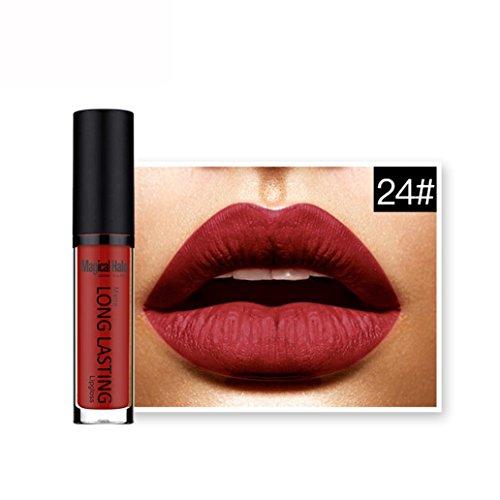 Rouges à lèvres,Covermason Imperméable à l'eau mate liquide rouge à lèvres longue durée Lip Gloss à lèvres (24#)