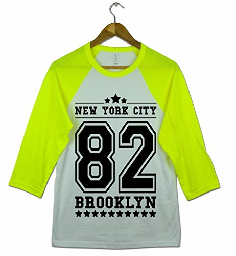 Herren New York City 82 Brooklyn American Football Baseball College Tri-Blend Sportliches 3/4 Arm T-Shirt Von Bella+Canvas Weiß & Neon Gelb