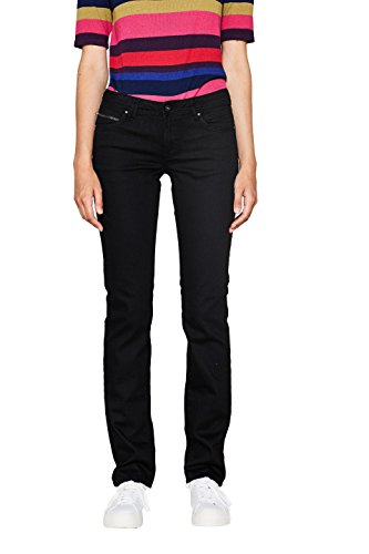 edc by ESPRIT Damen Straight Jeans 996CC1B905, Schwarz (Black Rinse 910), W29/L30