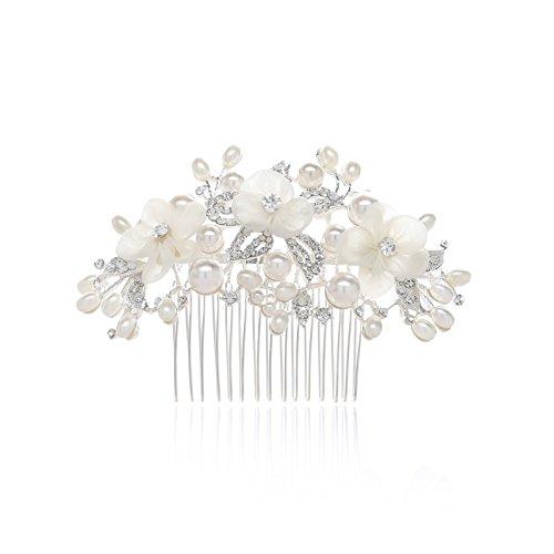 SWEETV Silber Hochzeit Haarkämme Diadem Hochzeit Haarnadeln mit Blüten, Kristall Blatt und Perle