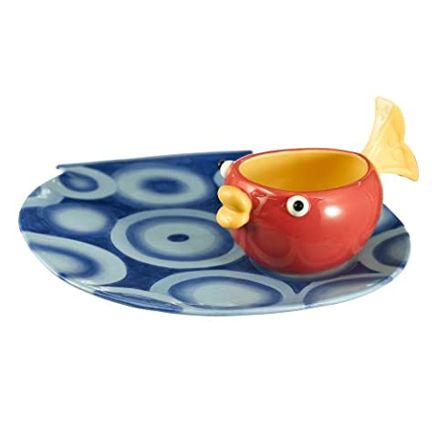 Grasslands Road Studio 100 Making Waves 10 by 10-3/4-Inch Fish Bowl Shaped Platter with Fish Tail Handle Dip Bowl, 2-Piece Set by Grasslands Road