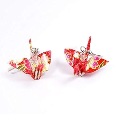 Boucles d'oreilles grues origami oranges - crochets inox