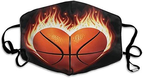shifeiwanglu Unisex Mundmaske,Heart Basketball Fire Pattern Mouth Masks Unisex Washable Reusable Mouth Mask Fashion Design for Girls Women Boys Men