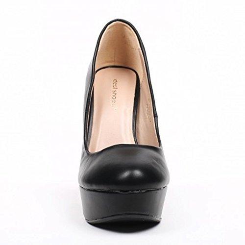 Klassische Damen Pumps Stilettos High Heels Plateau Abend Schuhe Bequem 21 Schwarz 922