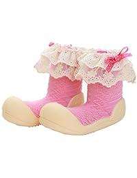 Attipas Newborn Baby Girls 3-40 months Soft Sole First Walking Prewalker Toddler Footwear Socks cum Shoes Cozie Fleece Booties, Pink